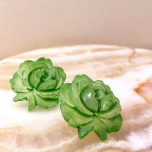 Green Rose Studs Hand Molded Translucent Finish